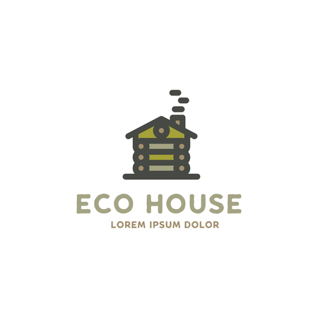 Eco house logo template. Flat design concept of eco house, wooden house. Stock logotype isolated on white background