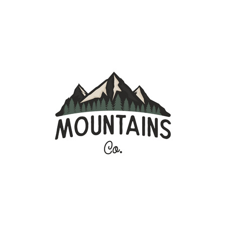Mountains logo design template. Mountains logo co concept with trees. Vintage hand drawn style. Stock adventure insignia isolated on white background
