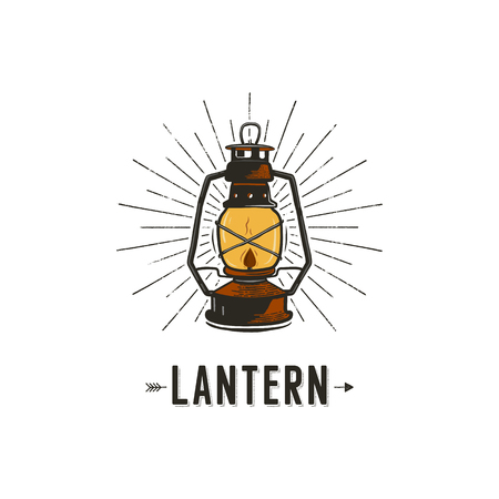 Vintage hand-drawn lantern concept. Perfect for logo design, badge, camping labels. Retro colors. Symbol for outdoor activity emblems. Old style. Stock illustration isolated on white background