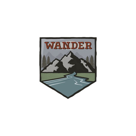 Mountain vintage badge. Mountain explorer label. Outdoor adventure logo design with mountains and wander sign. Travel and hipster insignia. Wilderness, forest camping emblem. Stock