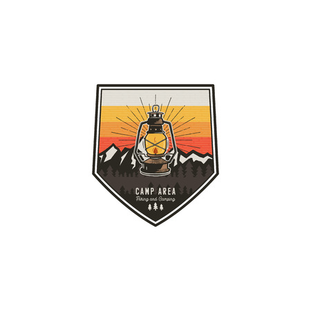 Camping and hiking vintage badge. Mountain explorer label. Outdoor adventure logo design with lantern. Travel and hipster vintage badge. Wilderness camping emblem. Stock patch