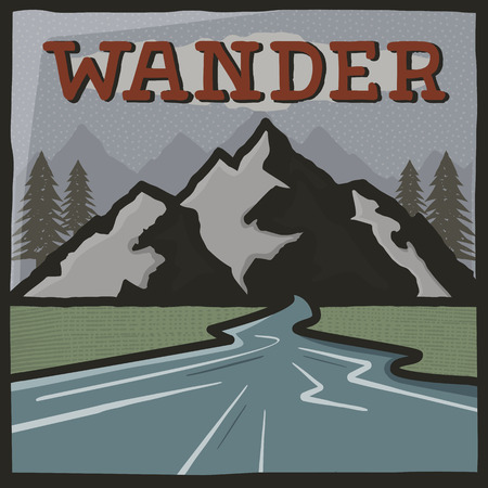 Vintage hand drawn travel poster. Camping label, brochure concept. Mountain expedition logo design.Wander sign. Stock patch Stock Photo