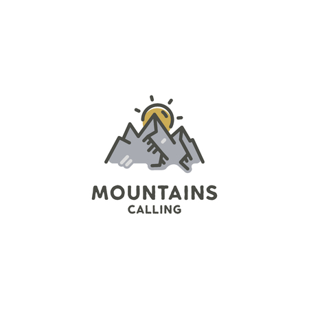Mountains are calling flat concept. Cute line art style. Adventure line art logo template. Mountain expedition logotype. Retro Color Palette. Stock illustration isolated on white background Stok Fotoğraf