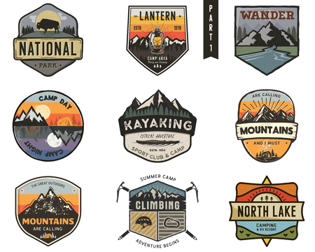 Set of vintage hand drawn travel badges. Camping labels concepts. Mountain expedition logo designs. Travel badges. camp logotypes collection. Stock patches isolated on white background