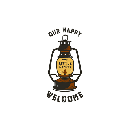 Vintage hand-drawn lantern logo concept. Perfect for logo design, badge, camping labels. Retro colors. Symbol for outdoor activity emblems. Old style. Stock illustration isolated on white