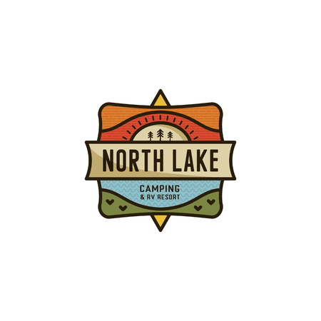 Vintage hand drawn travel badge. Camping label concept. Mountain expedition logo design. Travel badge, rv logotype. North Lake sign. Stock patch isolated on white background