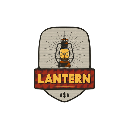 Vintage hand drawn camping logo with lantern. Retro style camping logo. Outdoor adventure badge design. Travel and hipster emblem. Wilderness theme. Stock isolated on white background Stock Photo