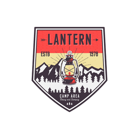 Vintage hand drawn camping logo with lantern. Retro style camping logo. Outdoor adventure badge design. Travel and hipster emblem. Wilderness theme. Stock isolated on white