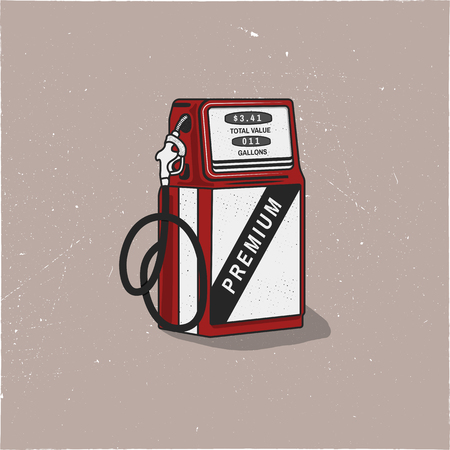 Vintage Gas Station Pump artwork. Retro hand drawn design in distressed style. Unique gasoline pump illustration. Stock vector isolated on white background Banque d'images - 104238140