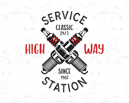 Service station emblem design. Classic garage logo in retro style with monochrome spark plug and typography High way. Mechanic badge. Good for tee. Stock vector isolated on white Vectores