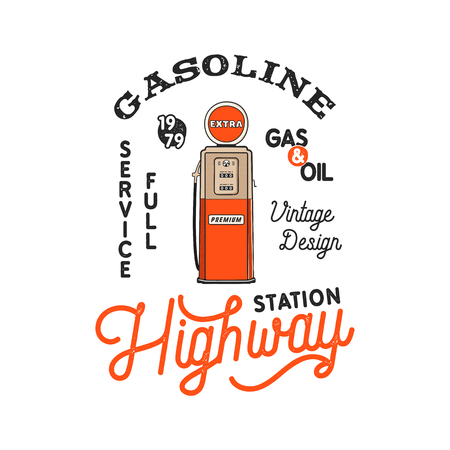 Vintage Gas Station Pump badge. Retro hand drawn gasoline design in distressed style. Unique gasoline pump illustration. Stock vector isolated on white background Stok Fotoğraf - 104456171