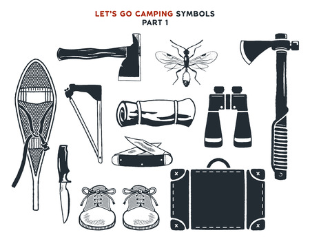 Vintage hand drawn adventure, hiking, camping shapes. Vintage snowshoes, axes, travel bag, binoculars, knife and others. Retro monochrome design. Can be used for t shirts, prints. Stock vector. Foto de archivo - 104456168