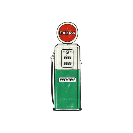 Retro style Gas station pump artwork. Vintage hand drawn design in distressed style. Unique gasoline pump illustration. Green and red colors palette. Stock vector isolated on white background Stock Illustratie