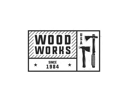 Vintage hand drawn woodworks tag logo and emblem. Carpentry service label, patch. Typography lumberjack insignia with axes and texts. Retro black style. Stock vector illusration isolated on white. Standard-Bild - 104456179