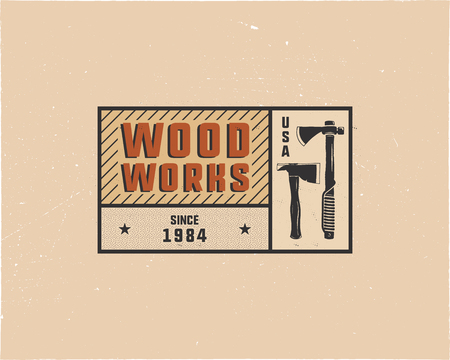 Vintage hand drawn woodworks tag logo and emblem. Carpentry service label, patch. Typography lumberjack insignia with axes and texts. Retro colors style. Stock vector illusration isolated. Ilustracja