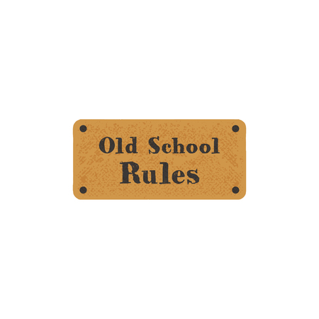 Old school label on retro card. Vintage hand drawn style. Stock typography isolated on white background. Stok Fotoğraf