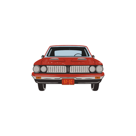 Vintage hand drawn muscle car. Retro red car symbol design. Classic car emblem isolated on white background. Stock isolated. American auto icon. USA automotive theme.