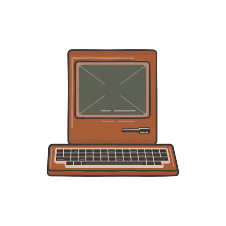 Vintage Hand Drawn Personal Computer With Keyboard. Old classic pc with sign - Old School Rules. Retro technology icon. Stock Illustration, tee design, t shirt isolated on white. 스톡 콘텐츠