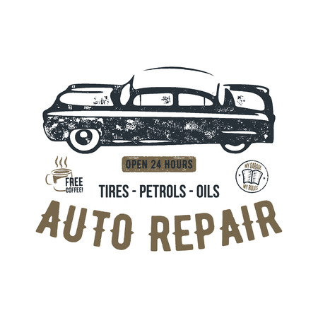 Vintage hand drawn auto repair t shirt design. Classic car poster with typography. Auto industry tee. Retro style poster with grunge background. Old car logo, emblem template. Stock patch. Stock Photo