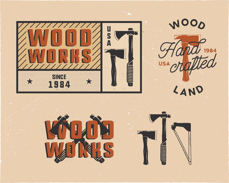 Vintage hand drawn woodworks tags logos and emblems set. Carpentry service label, patch. Typography lumberjack insignia with axes and texts. Retro colors style. Stock vector illusration isolated Illustration