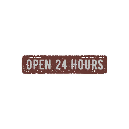 Open 24 Hours retro sign. Stock vector illustration isolated on white background.
