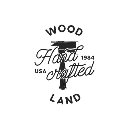 Vintage hand drawn woodworks logo and emblem. Wood land, hand crafted label. Typography lumberjack insignia with crossed axes and texts. Retro silhouette style. Stock vector illusration.