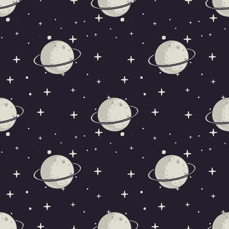 Vintage dibujado a mano moom y estrellas de fondo. espacio textura fluida. Ilustración vectorial de stock.