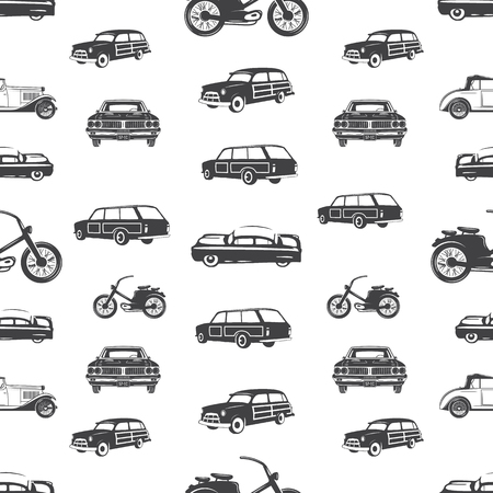 Surfing transport seamless pattern. Retro Surf car, motorcycle wallpaper background in monochrome style. Vintage hand drawn concept. Stock vector illustration isolated on white.