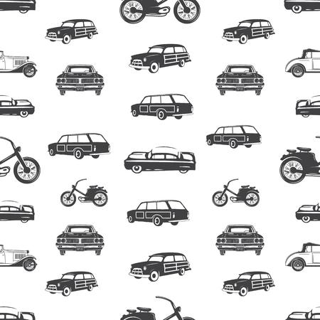 Surfen vervoer naadloze patroon. Retro Surf auto, motorfiets wallpaper achtergrond in zwart-wit stijl. Vintage hand getekend concept. Voorraad vectorillustratie geïsoleerd op wit. Vector Illustratie