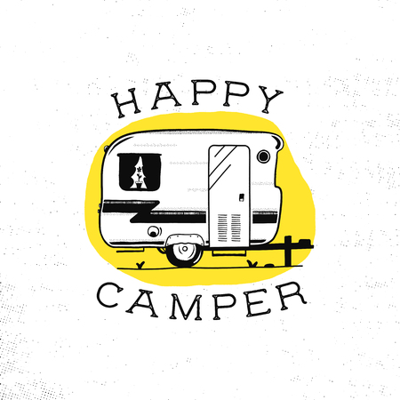 Mobile recreation. Happy Camper trailer in sketch silhouette style. Vintage hand drawn camp rv. House on wheels. Travel Transport emblem. Stock vector isolated on yellow circle. Stockfoto - 105743271