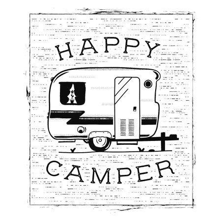 Mobile recreation. Happy Camper trailer in sketch silhouette style. Vintage hand drawn camp rv. House on wheels. Travel Transport emblem. Stock vector isolated on white background Illustration