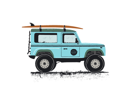 Vintage hand drawn surf car. Retro transportation with surfboard. Old style sufing automobile. Perfect for T-Shirt, travel mugs and otjer outdoor adventure apparel, clothing prints. Stock vector. Illustration