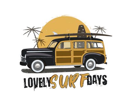 Emblème de surf vintage avec voiture rétro woodie. Belle typographie de jours de surf. Planches de surf, palmiers et symboles du soleil inclus. Bon pour T-shirt, tasses. Vecteur stock isolé sur fond blanc Vecteurs
