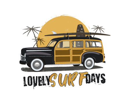 Vintage Surfing Emblem with retro woodie car. Lovely surf days typography. Included surfboards, palms and sun symbols. Good for T-Shirt, mugs. Stock vector isolated on white background