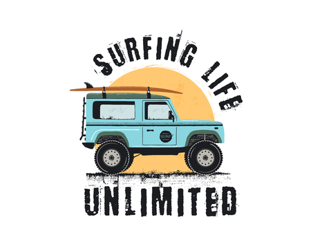Vintage Surf Emblem with retro woodie car. Surfing Life Unlimited typography. Included surfboards, road and sun symbols. Good for T-Shirt, mugs. Stock vector isolated on white background