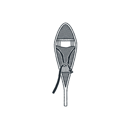 Racket to walk on snow, winter sports and outdoor activities equipment or Snowshoes, vintage hand drawn engraved illustration. Stock vector isolated on white.