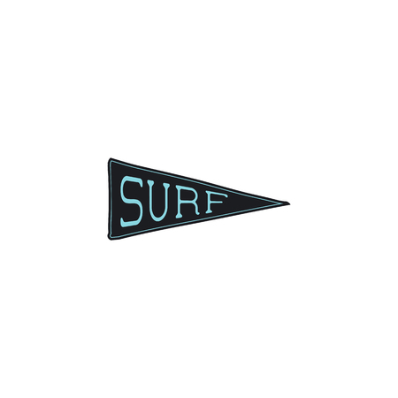 Surfing Pennant icon design. Simple surf pendant concept. Stock vector isolated on white background.