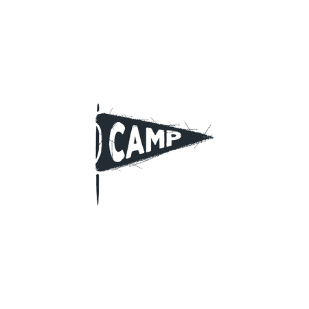 Camp pennant ison. Silhouette design. Vintage hand drawn badge. Stock vector isolated on white background.