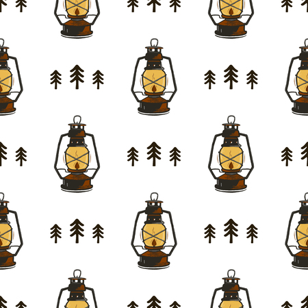 Retro camp seamless pattern with Lanterns and trees. Vintage hand drawn concept. Old style colors. Stock vector wallpaper, background isolated on white. Illustration