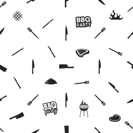 BBQ thematic seamless design. Barbecue pattern for summer barbeque prints on any identity, apparel, clothing. Featuring Kitchen tool, meat, typography elements. Stock