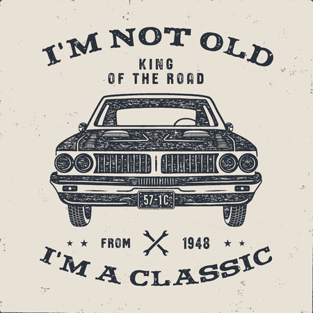 70 Birthday Anniversary Gift brochure. I m not Old I m a Classic, King of the Road words with classic car. Born in 1948. Distressed retro style poster, tee. Stock vector isolated on white background Çizim