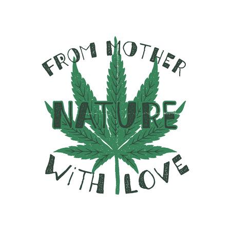 De mère nature avec affiche d'amour. Le Canada légaliser le concept. Avec des feuilles de marijuana. Thème du cannabis. Bannière, patch, timbre ou autocollant de style rétro. Impression de t-shirt parfaite, mug. Vecteur de stock isolé