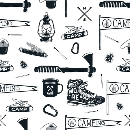 Vintage Hand drawn seamless pattern with camping equipment, gear. Axes, camp lantern, mug, knife and others. Stock vector adventure wallpaper background isolated on white.