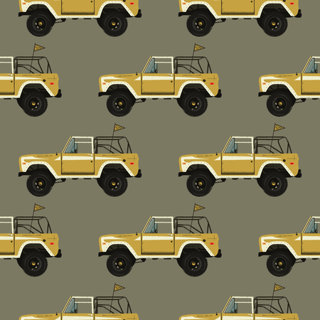 Vintage hand drawn surfing car seamless. Summer pattern. Retro surf transportation wallpaper. Textured classic automobile with flag. Stock vector illustration.