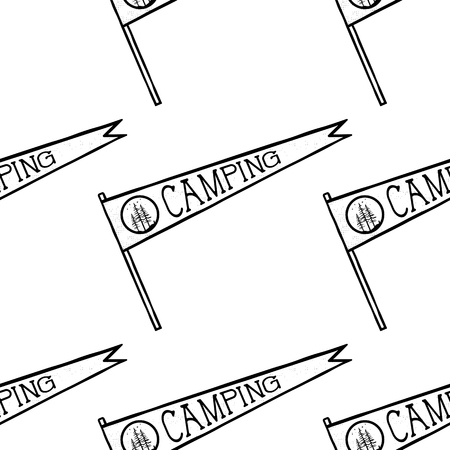 Camping pennant seamless pattern. Monochrome line art hipster style. Stock vector wallpaper illustration isolated on white background