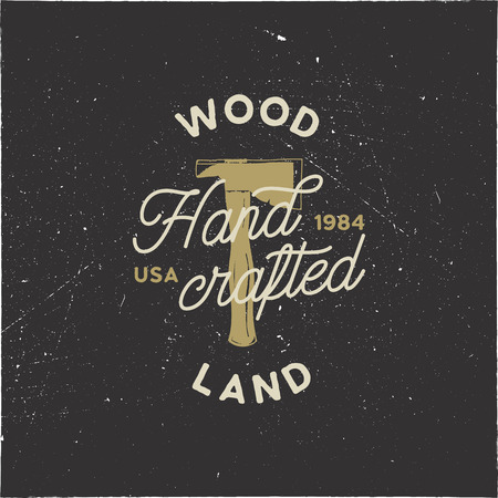Vintage hand drawn woodworks logo and emblem. Wood land, hand crafted label. Typography lumberjack insignia with crossed axes and texts. Retro silhouette style. Stock illusration isolated Stock Photo