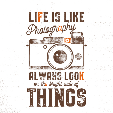 Typography poster with old style camera and quote - Life is like Photography, always look on the bright side of things. VIntage calligraphy design. Good for T-Shirts, mugs and others identity. 写真素材