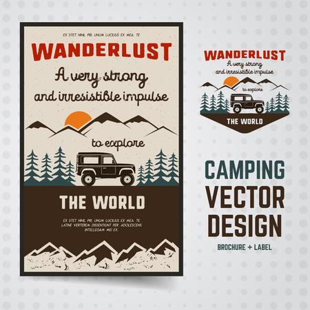 Plantilla de folleto y emblema del logotipo de Wanderlust. Insignia de viaje dibujada a mano vintage. Con coche antiguo a través de las montañas y el bosque. Presupuesto personalizado incluido sobre deambular. Insignia de caminata de vector stock