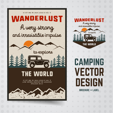 Wanderlust Logo Emblem and Brochure Template. Vintage hand drawn travel badge. Featuring old car riding through the mountains and forest. Included custom quote about wander. Stock vector hike insignia