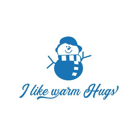 Seizoen motivatie citaat Ik hou van warme knuffels. Sneeuwman met litteken en hoed. Kerst schattig symbool. Ontwerpidee voor T-shirtprint, mok, overlay. Stock illustratie geïsoleerd op een witte achtergrond